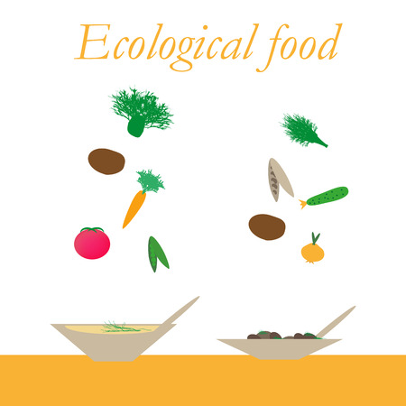 potherb: Ecological food from natural products - Vector illustration. Illustration