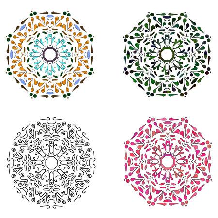Set of four circular patterns. Vector illustration.