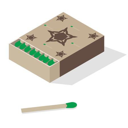 caja de cerillas: Ootkrytaya caja con partidos en el fondo de aislamiento Vectores
