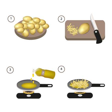 gas cooker: Step by step recipe of fried potatoes. Vector.