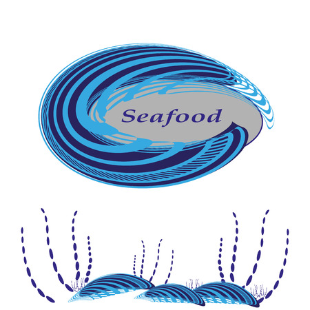 Labels in the form of shells for seafood. Vector