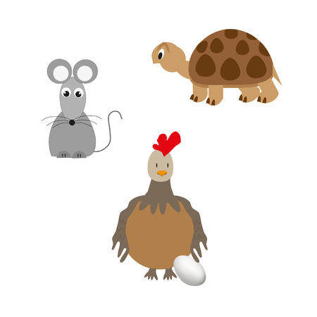 crown tail: Set of animal - turtle, chicken and mouse. Illustration