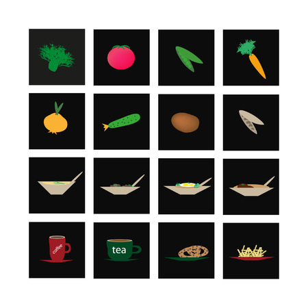 Set of icons of vegetables and culinary specialties. Vector