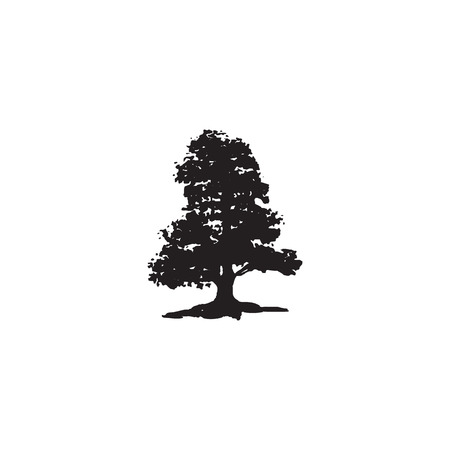 The black silhouette of a tree on an isolated background.
