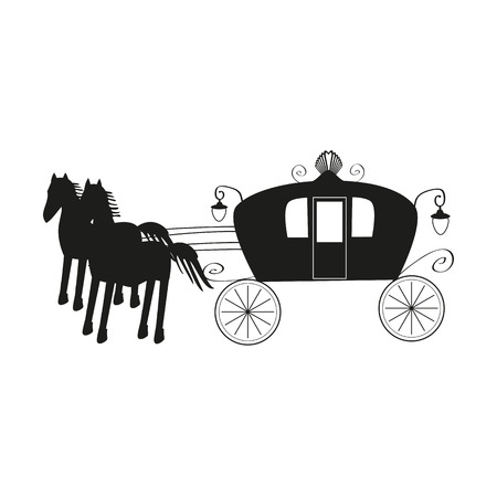 brougham: Vintage black carriage and black horse isolated on white background.