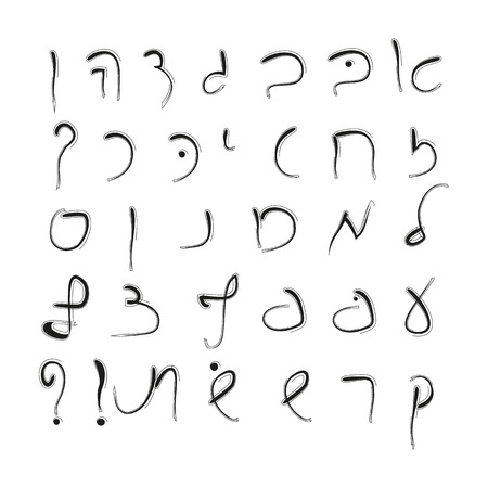 hebrew alphabet: Hebrew alphabet. Uppercase font. Hand drawing. Vector. Illustration
