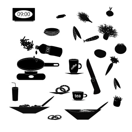 main course: Set of black silhouettes of food and kitchen utensils on isolated background.