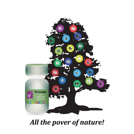 vitamins: The bottle on the background of wood with trace elements and vitamins.