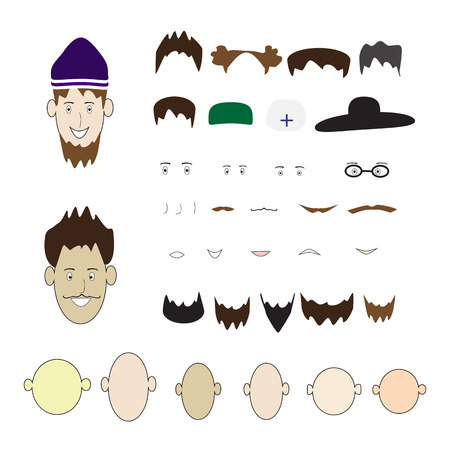 hair mask: A set of parts of the human face and hats on an isolated background.