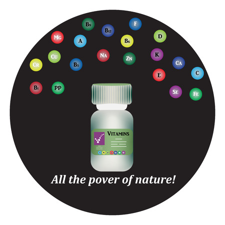 Pharmaceutical Bottle with trace elements and vitamins.
