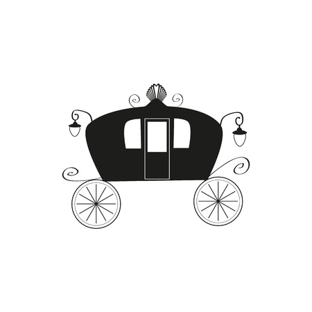 brougham: The black silhouette of a vintage carriage on an isolated background. Brougham.