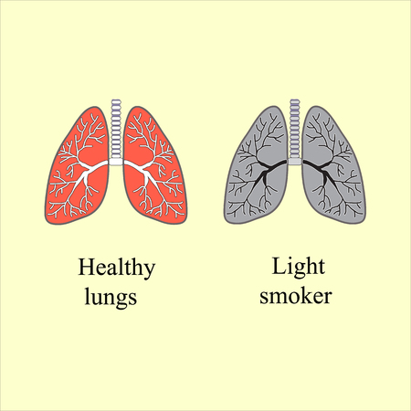 흡연자: Light smoker. The harm of smoking. Vector illustration. 일러스트