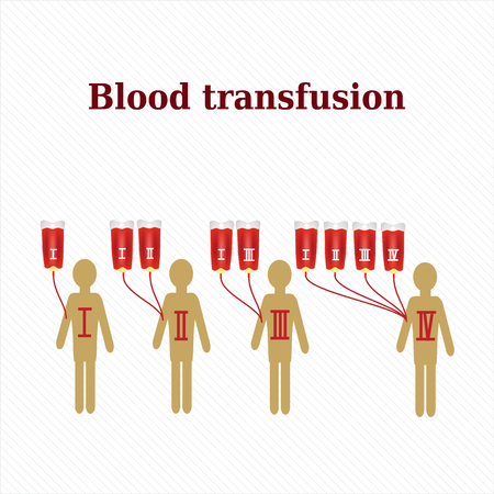 recipient: Blood transfusion. Blood groups. Infographics. Vector illustration. Illustration