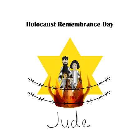 genocide: Holocaust Remembrance Day. Illustration on isolated background.