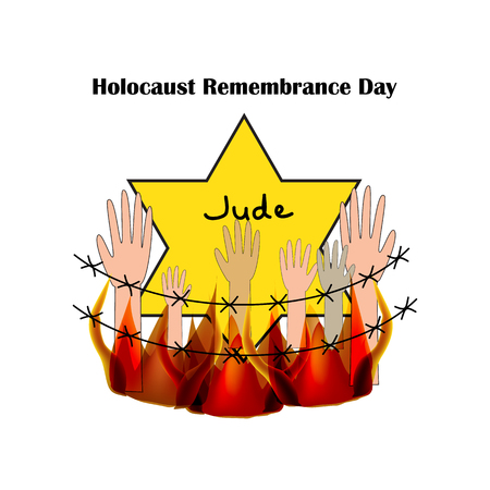 holocaust: Holocaust Remembrance Day. Illustration on isolated background.