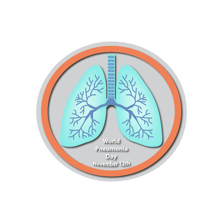 baner: World Pneumonia Day - November 12. Lungs. Baner. Infographics. illustration on isolated background.