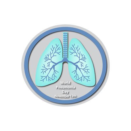 tb: World Pneumonia Day - November 12. Lungs.  Infographics. illustration on isolated background Illustration