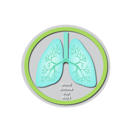 air awareness: World Asthma Day - May 3. Lungs. Infographics. illustration on isolated background.