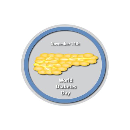 bile: World Diabetes Day - November 14. Pancreas. Baner. Infographics. illustration on isolated background.
