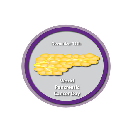 digestive disorder: World Pancreatic Cancer Day - November 13. Pancreas.  Infographics. illustration on isolated background.