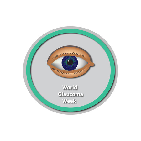6 12: World Glaucoma Week 6 -12 March. Eye. Infographics. illustration on isolated background. Illustration