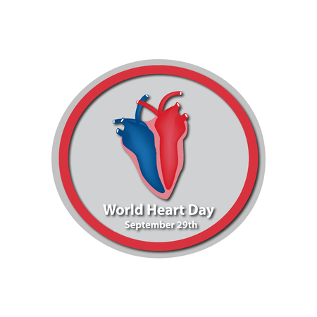 left atrium: World Heart Day - September 29. A heart. Infographics. illustration on isolated background.