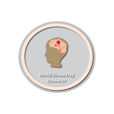World Stroke Day - October 29. Brain. Infographics. illustration on isolated background. Иллюстрация