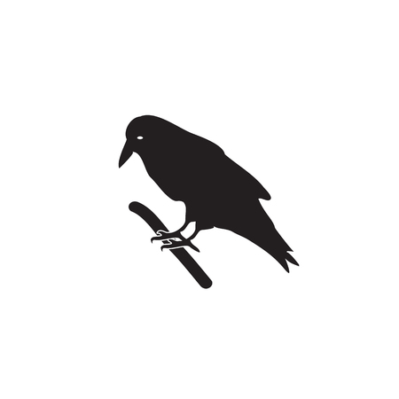 corvus: The black silhouette of a crow on a branch. illustration on isolated background.