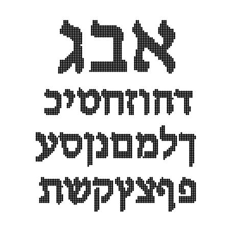 hebrew alphabet: Black Hebrew alphabet of circles. Font. illustration on isolated background.