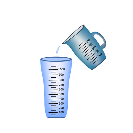 measuring: Beaker. Measuring cup. Pouring of measuring cups water into a glass.