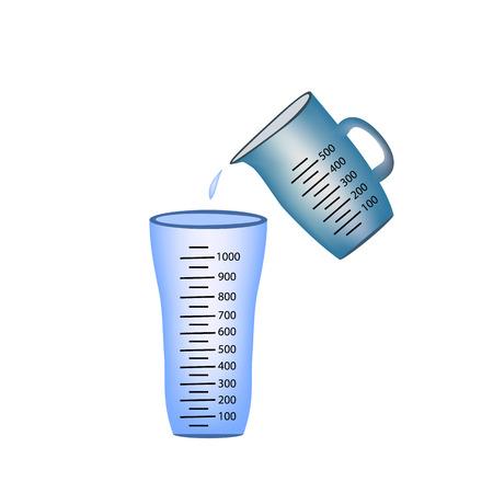 Beker. Maatbeker. Het gieten van de maatbekers water in een glas.