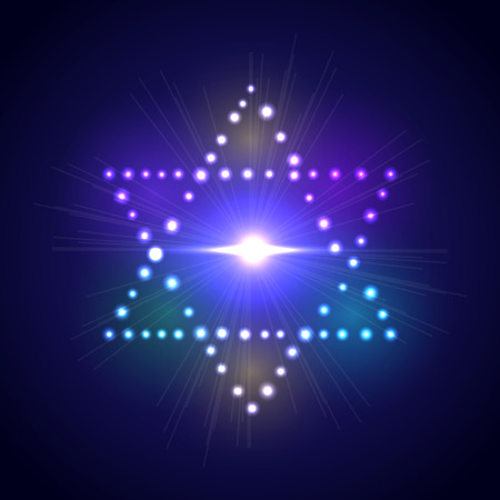 jewish star: The six-pointed Jewish star of David on the brilliant neon background.
