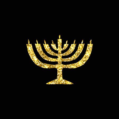 candleholder: Hanukkah candleholder golden silhouette. Gold. Jewish religious holiday of Hanukkah. Vector illustration on a black background. Illustration