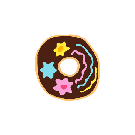 Hanukkah donut. Doodle, sketch, draw hand. Jewish religious holiday of Hanukkah. Vector illustration on isolated background.