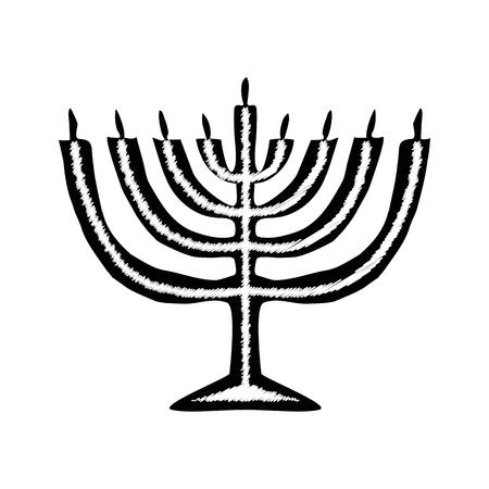 chanukiah: Chanukah candle black silhouette. Jewish religious holiday of Hanukkah. Vector illustration on isolated background.