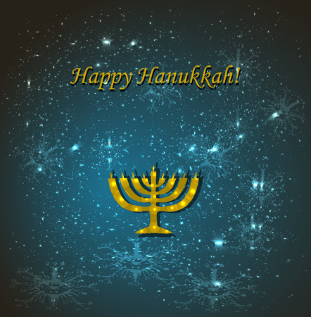 Blue background with snowflakes. Congratulations to the Jewish religious holiday of Hanukkah. Caption gold Happy Hanukkah. Chanukia golden. Chanukah candle. Vector illustration.