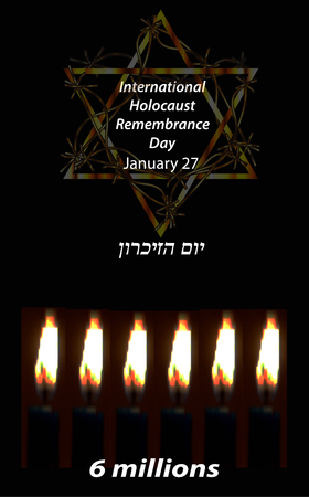 genocide: International Holocaust Remembrance Day. 27 January. Hebrew. Vector illustration Illustration