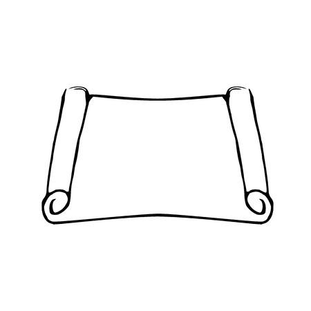 moses: Torah scroll. Megillat Esther. Jewish Holiday of Purim. Doodle Sketch. Hand draw Vector illustration. Illustration