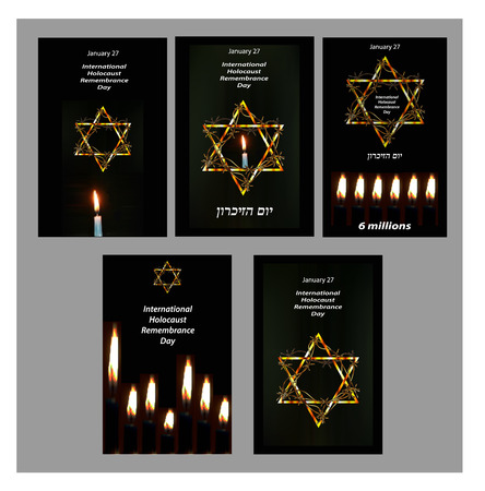 jews: A set of posters International Holocaust Remembrance Day. 27 January. Hebrew Vector illustration