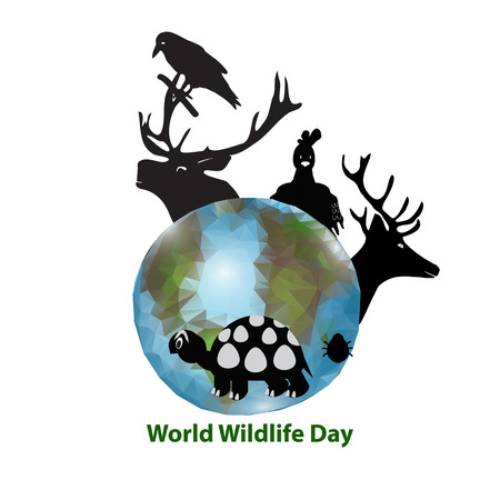 World Wildlife Day. March 3. Black silhouettes of animals. Deer, moose, crow, chicken turtle beetle Planet Earth Vector illustration