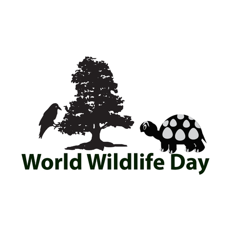 wildlife reserve: World Wildlife Day. March 3. The black silhouette of tree. Crow, Turtle Vector illustration