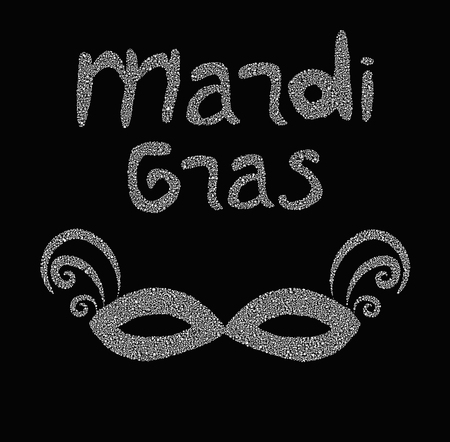 Mardi gras. Fat Tuesday. Silver label and Carnival mask inscriptions. Vector illustration