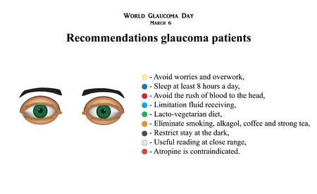 Glaucoma. Recommendations glaucoma patients Infographics. Vector illustration on isolated background Ilustracja