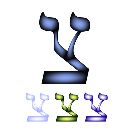 hebrew: Hebrew font language. The letter Tzadik. Illustration