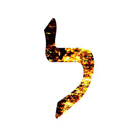 Hebrew letter Lamed. Shabby gold font. The Hebrew alphabet.