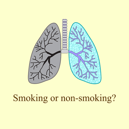 chronic bronchitis: Light smoker. The harm of smoking Vector illustration