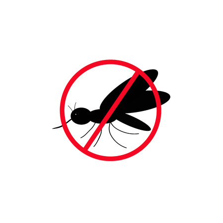 No mosquitoes. The black silhouette of a mosquito. Vector illustrations isolated on background.