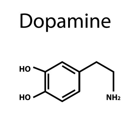 Chemical molecular formula hormone dopamine. The hormone pleasure. Infographics. Vector illustration