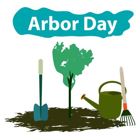Arbor Day. 29 April. Tree. Garden tools. Shovel rake watering can Vector illustration.