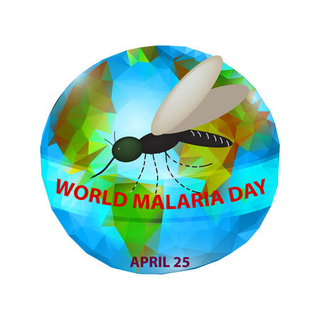 World Malaria Day. Mosquito on the planet Earth. 25th of April. Vector illustration.